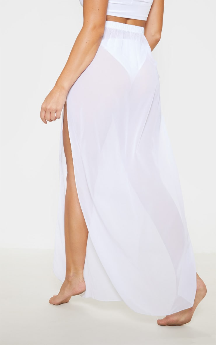 White Chiffon Split Side Maxi Skirt 4