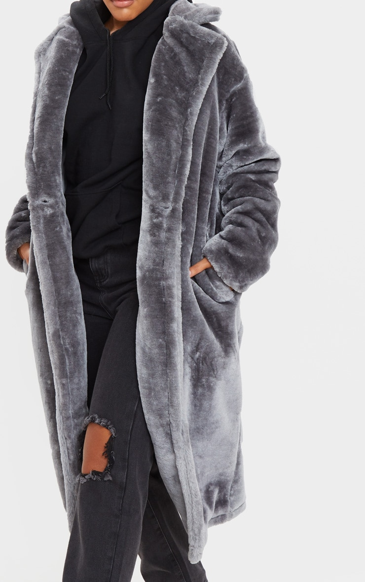 Grey Faux Fur Midi Coat  5