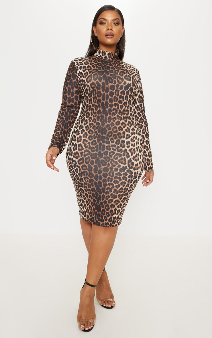 Plus Tan Leopard Print High Neck Midi Dress 1