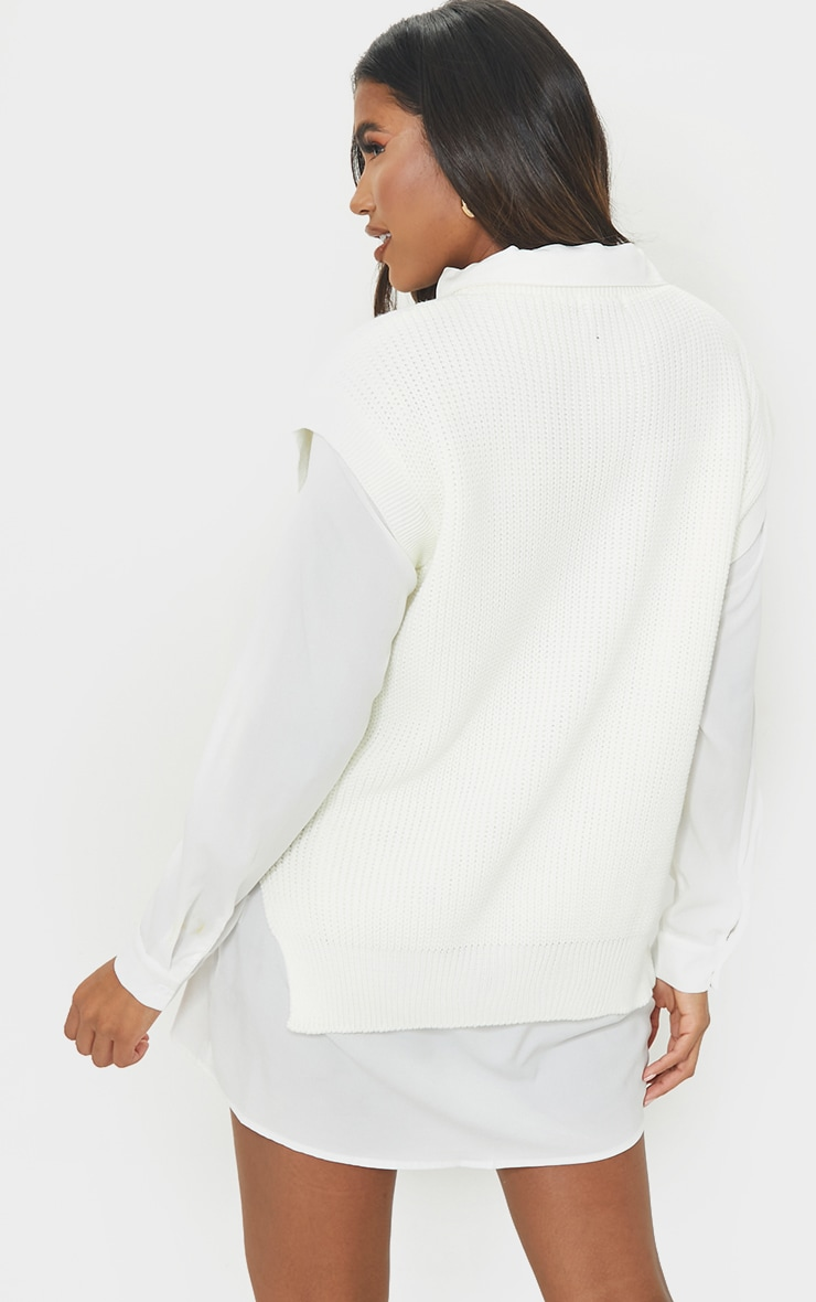Cream Round Neck Side Split Knitted Vest 2