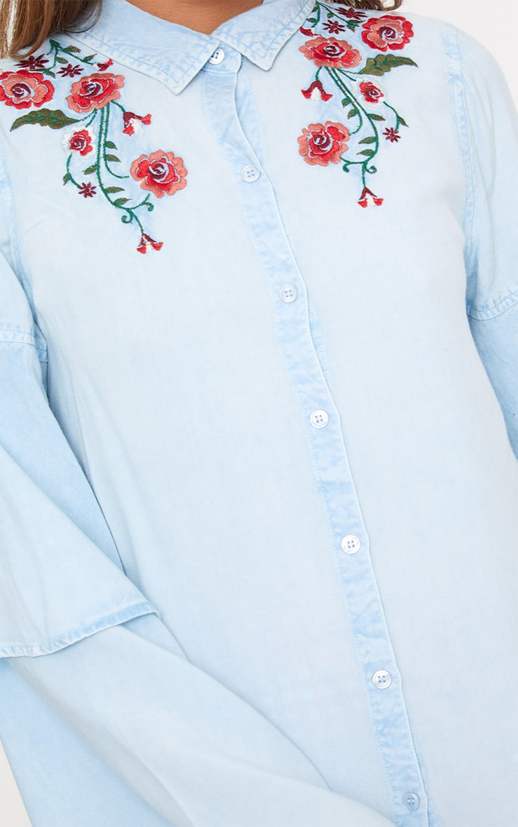 Light Wash  Embroidered Ruffle Sleeve Shirt 4