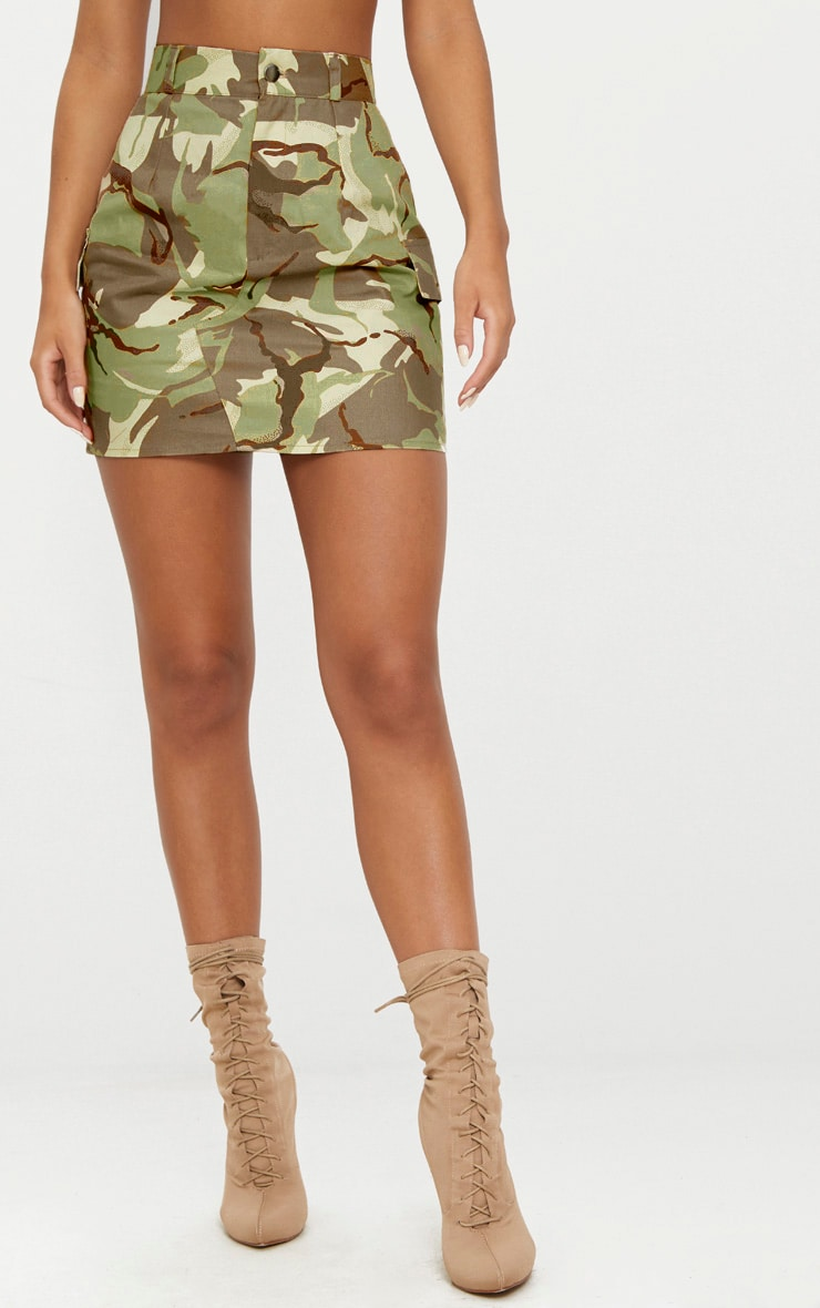 Khaki Camo Cargo Mini Skirt 2