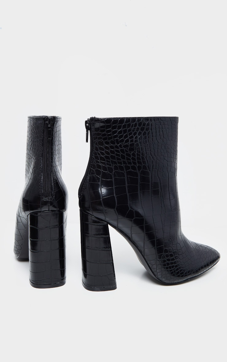 Black Croc Wide Fit Block Heel High Ankle Boot 3