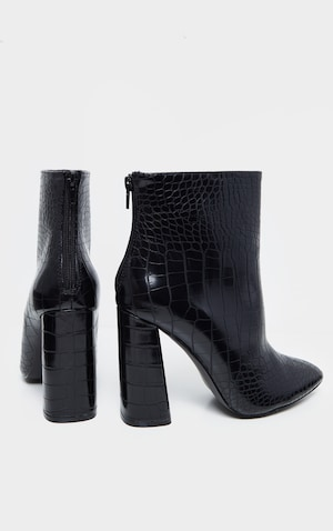 super popular hot new products fashion styles Black Croc Wide Fit Block Heel High Ankle Boot | PrettyLittleThing IE