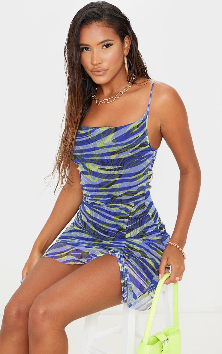 Purple Zebra Print Mesh Print Ruched Bodycon Dress 3
