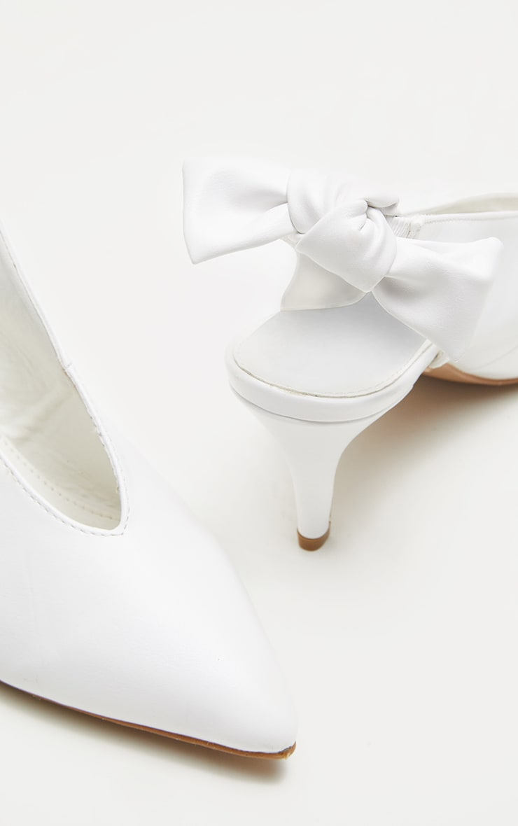 White Bow Back Slingback Mule  4