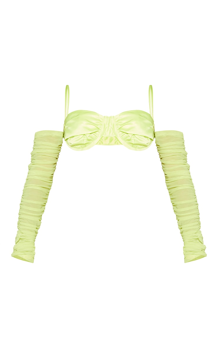 Shape Lime Woven Ruched Detail Bralet 5