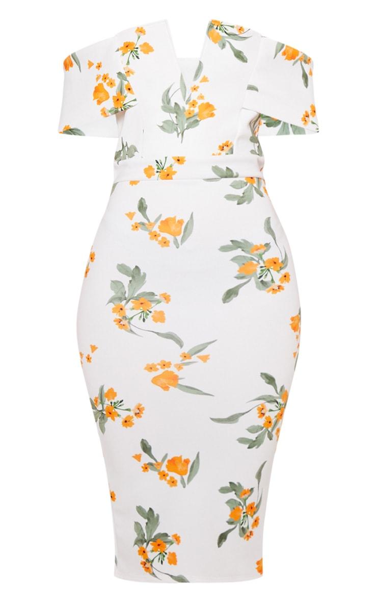 White Printed Plunge Bardot Midi Dress 3