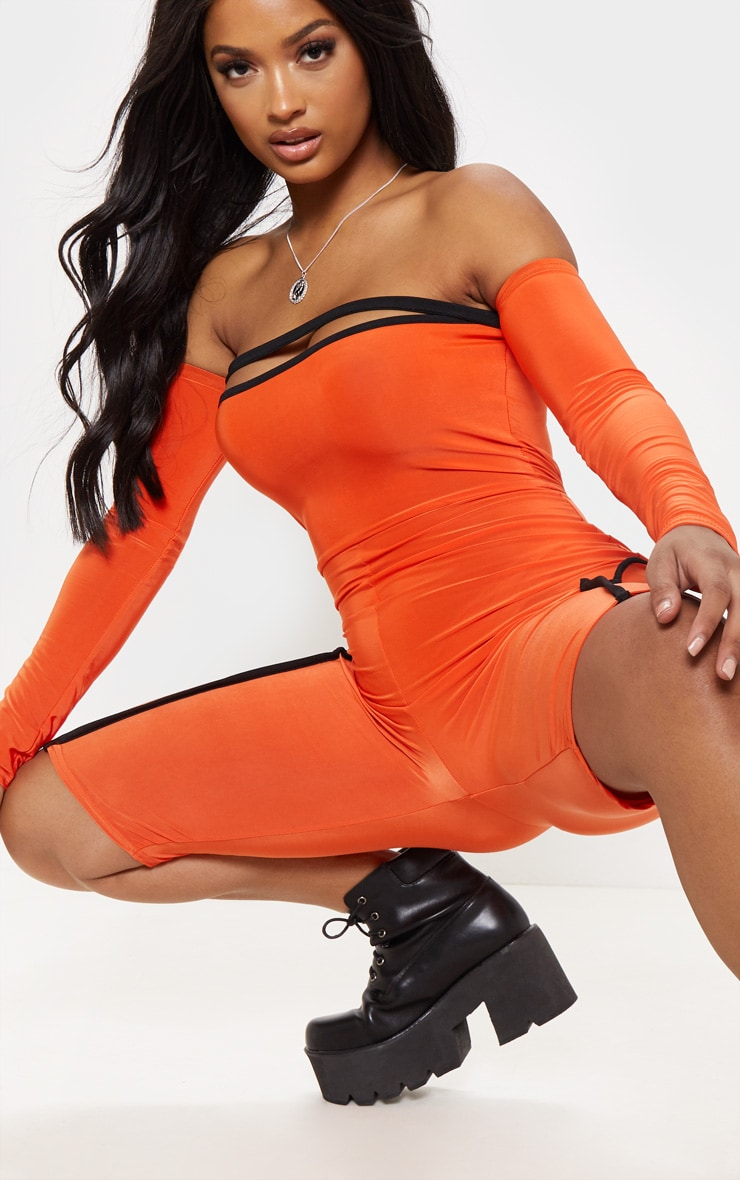 Shape Orange Binding Detail Bardot Unitard 5