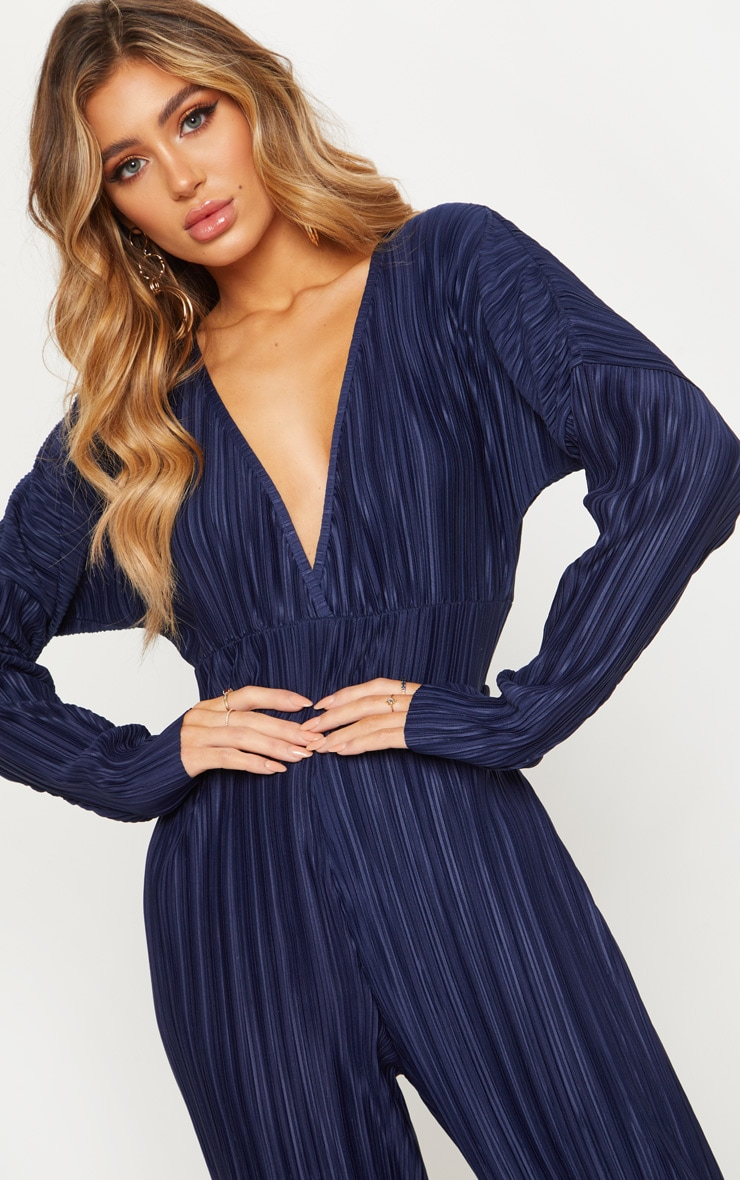 Navy Long Sleeve Pleated Jumpsuit 5