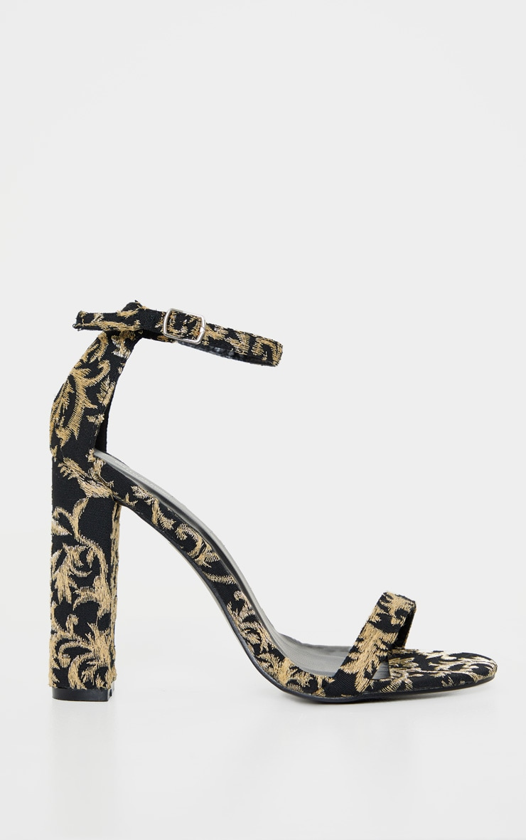 Black And Gold Brocade May Heeled Sandals 3