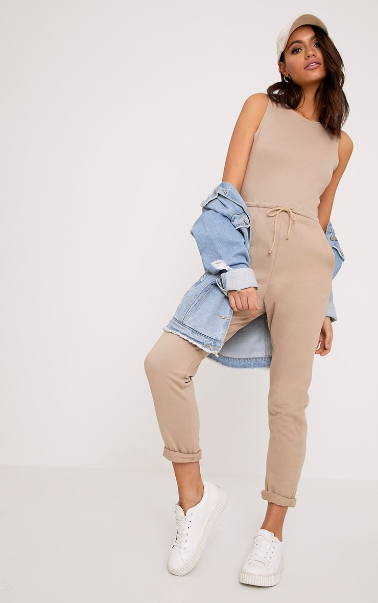 Sofie Nikki Taupe Sweat Jumpsuit  1