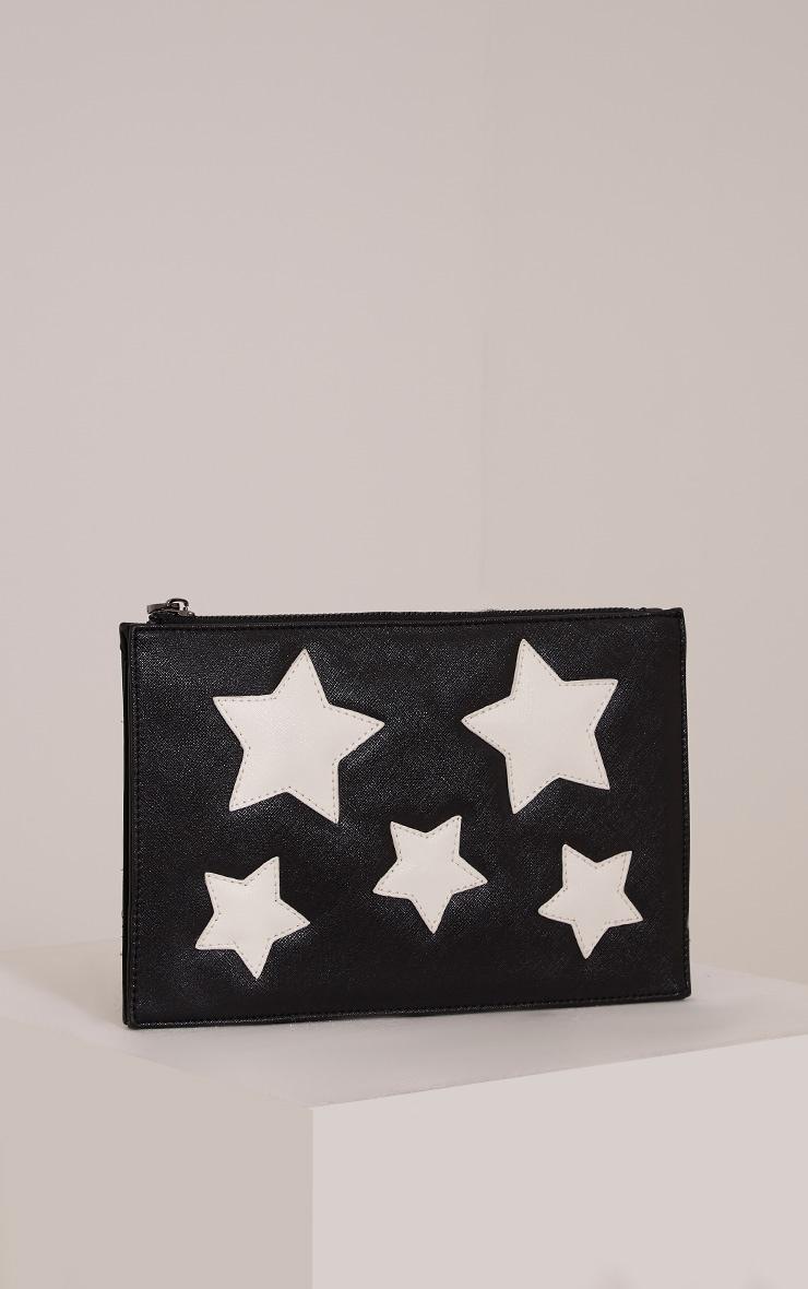 Aimee Black PU Star Detail Clutch Bag 1