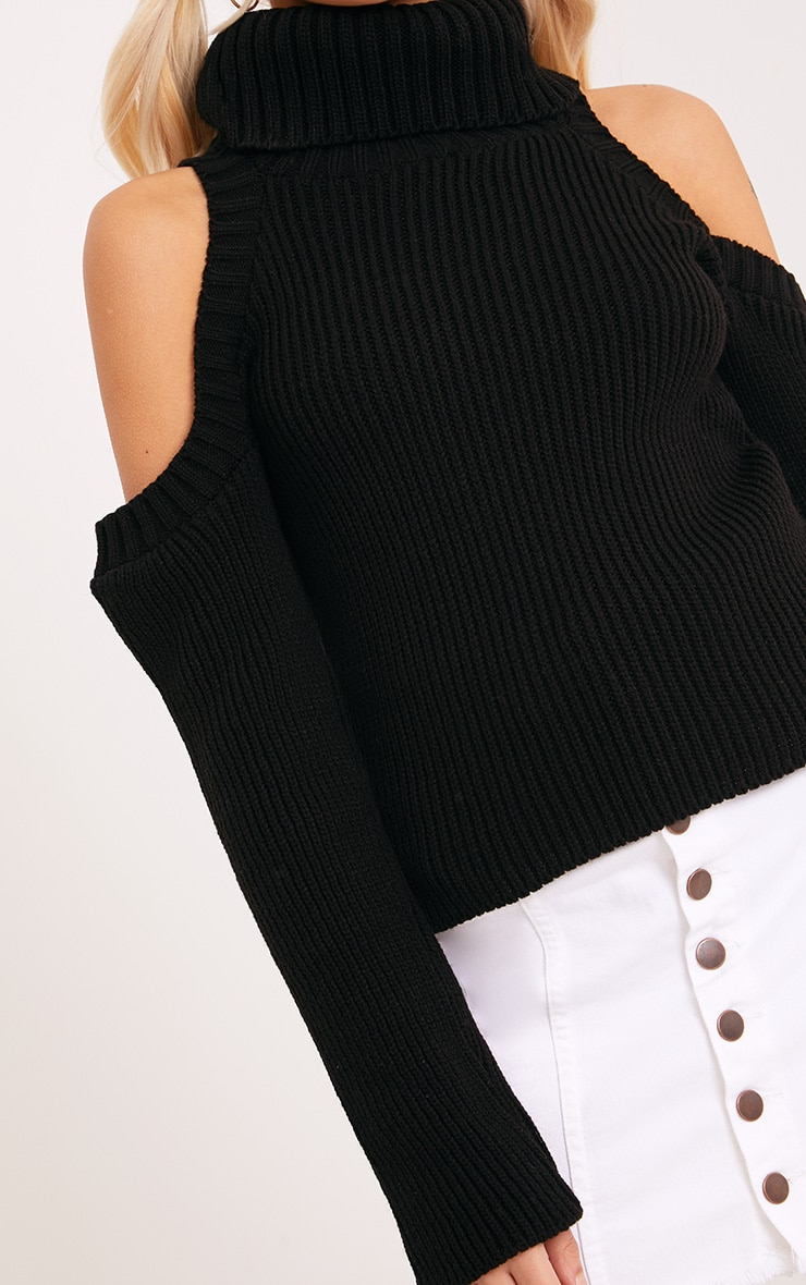 Piper Black Cut Out Shoulder Jumper 5