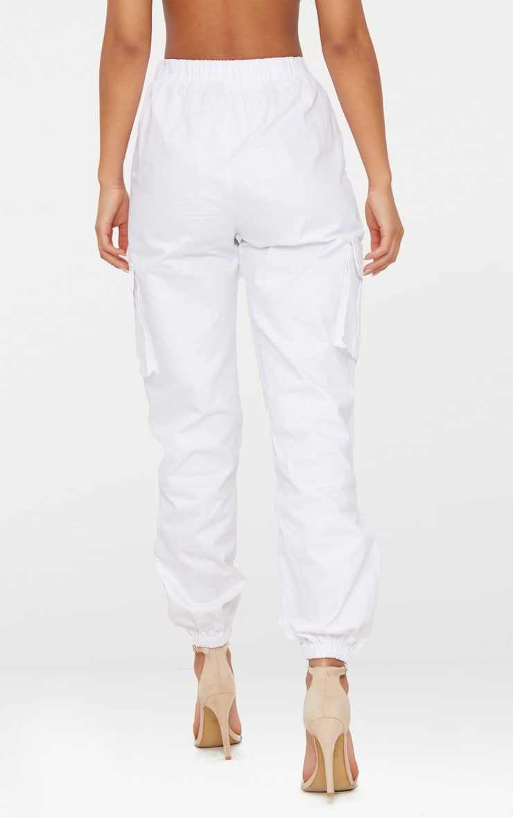 White Pocket Detail Cargo Trousers 5