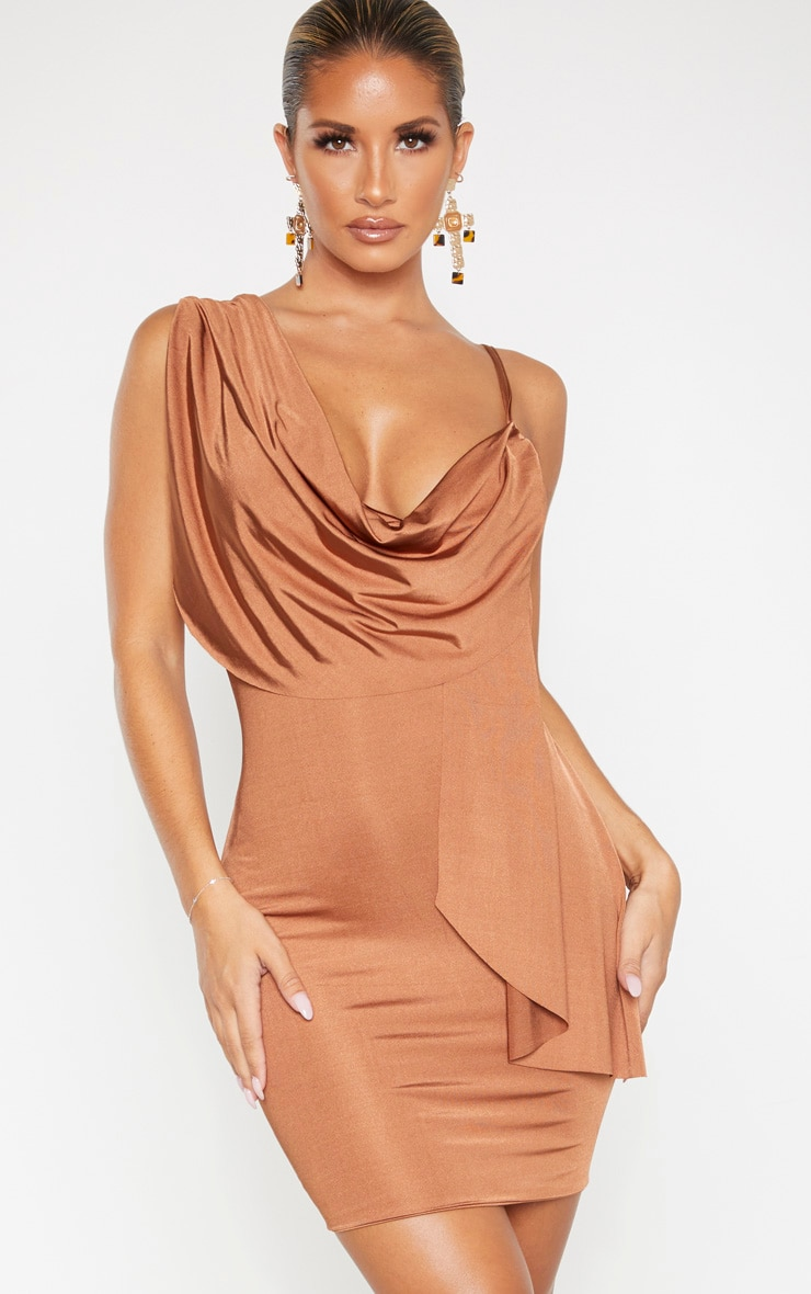 Mocha Metallic Slinky Drape Front Bodycon Dress 1