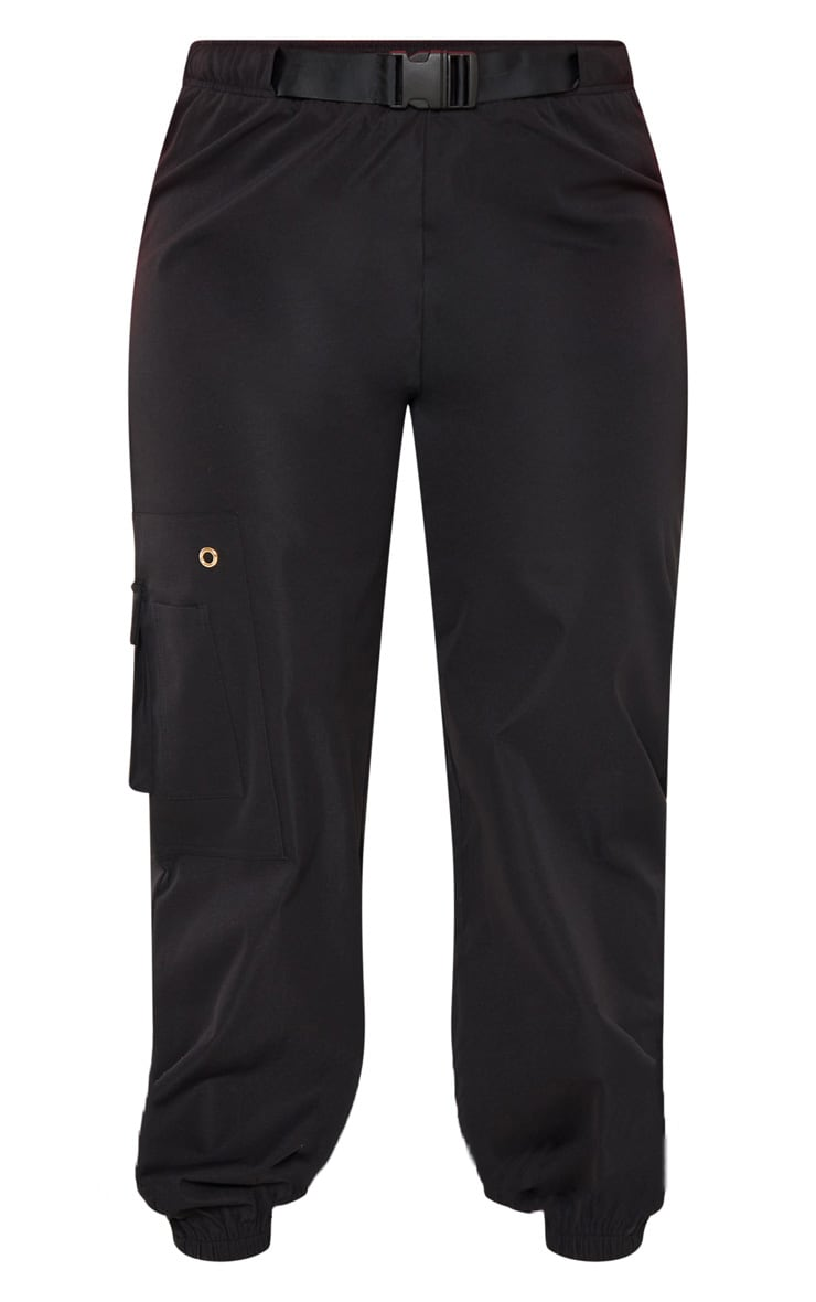 Plus Black Woven Buckle Detail Cargo Trousers 3