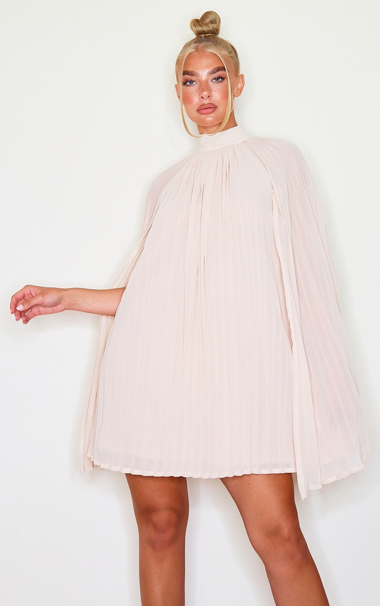 Nude Pleated Cape High Neck Shift Dress 1
