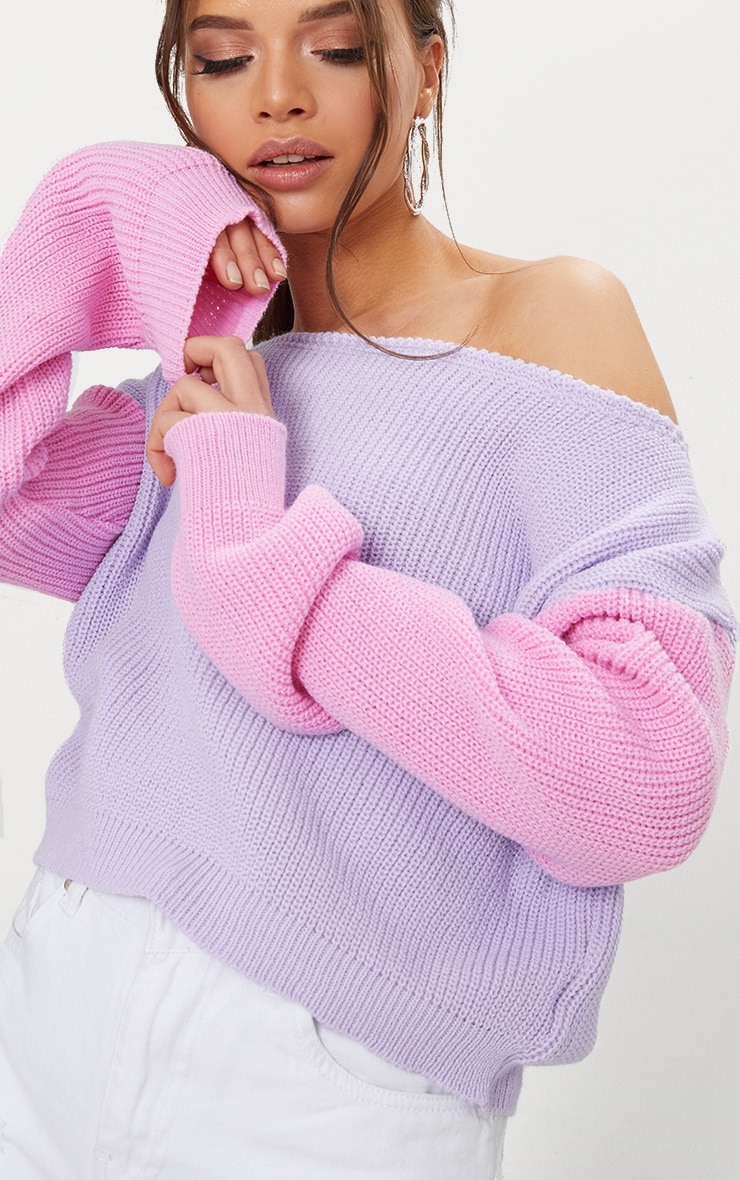 Lilac Off Shoulder Cropped Colour Block Sweater 5