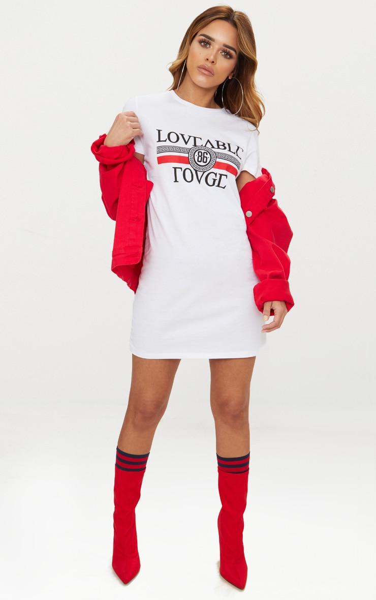 Petite White Loveable Rouge Slogan T-Shirt Dress 4