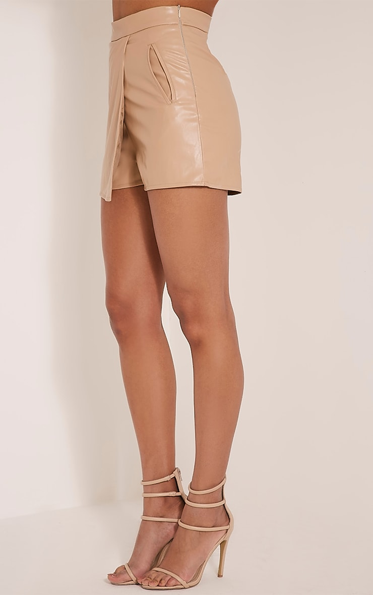 Chlo Taupe Faux Leather Skort 4