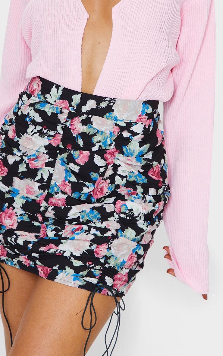 Black Ruched Floral Mini Skirt 5