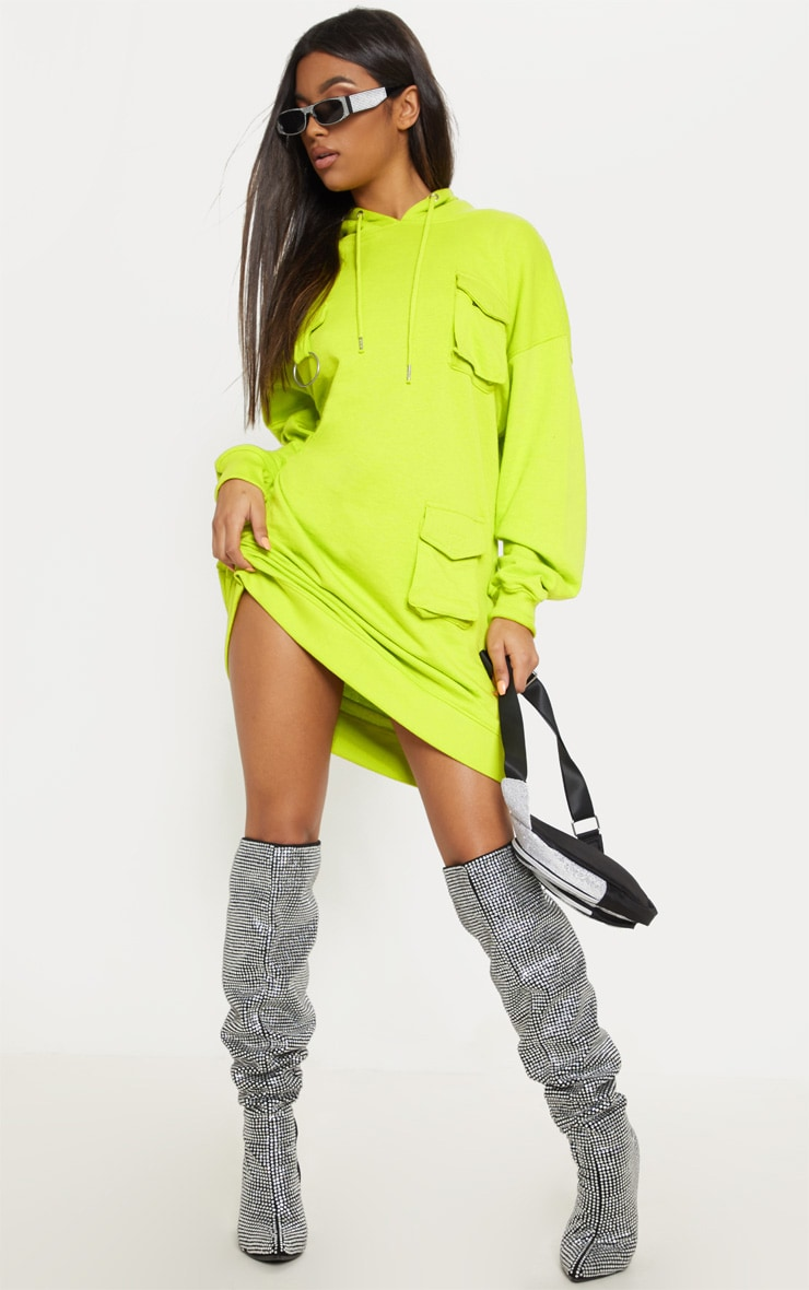 Neon Green Pocket Front Hoodie Dress 4