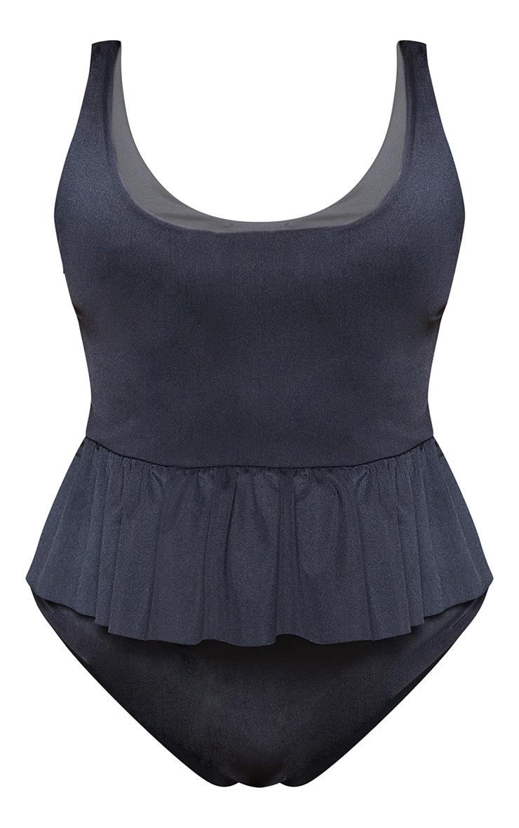 Plus Black Frill Waist Swimsuit  3