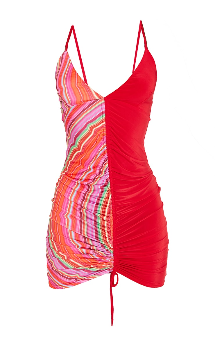 Tall Pink Wobble Stipe Contrast Slinky Ruched Strappy Mini Dress 5