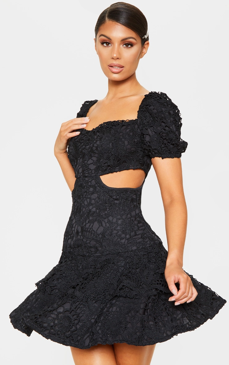 Black Lace Puff Sleeve Cut Out Skater Dress 3
