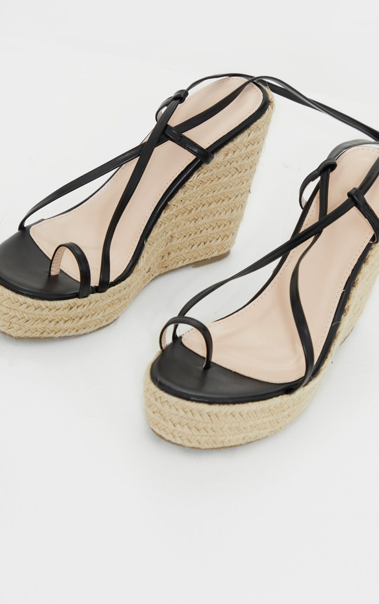 Black Toe Loop Ankle Tie Espadrille Wedges 4
