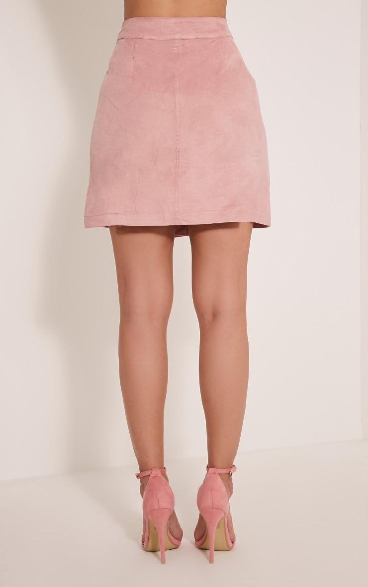 Cheryl Blush Faux Suede Button Skirt 6
