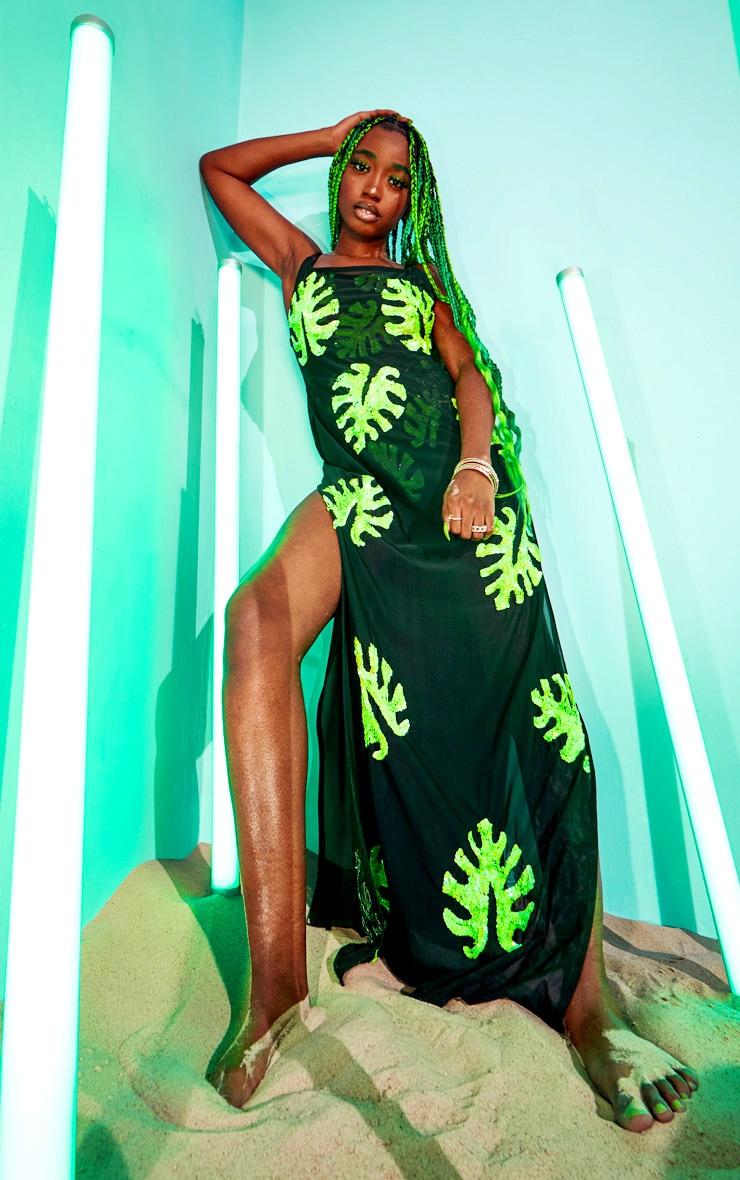 Black Maxi Palm Sequin Beach Dress 1