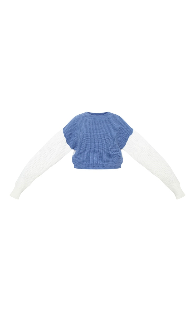 Cream Colour Block Cropped Knitted Jumper 3