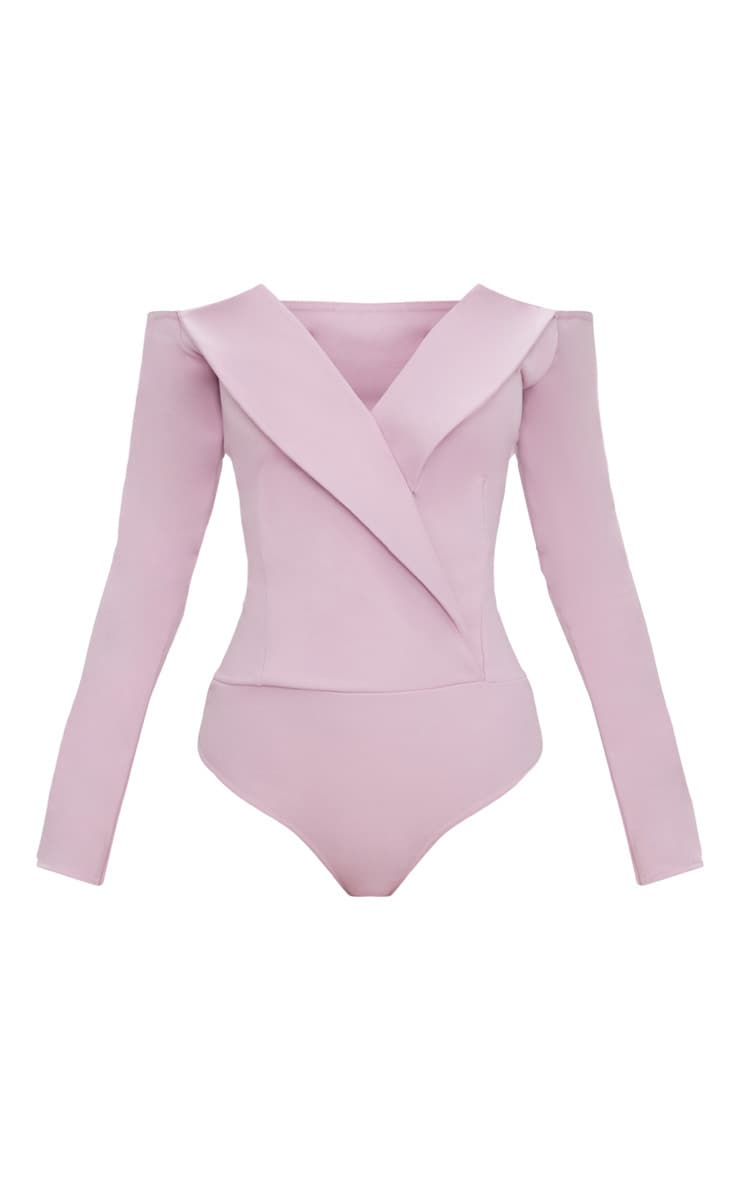 Mauve Tux Blazer Detail Bardot Bodysuit  3