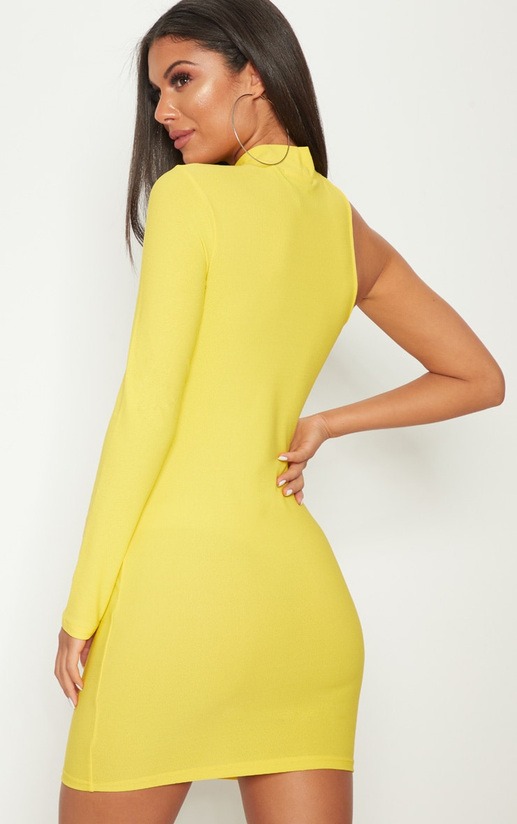 Yellow High Neck Asymmetric Sleeve Bodycon Dress 4