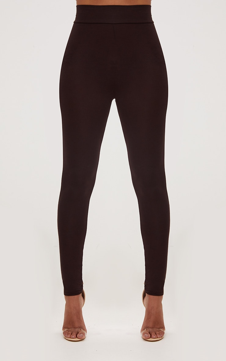 Chocolate Brown High Waisted Jersey Leggings 2