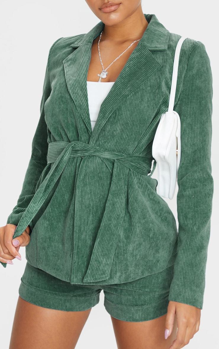 Green Cord Tie Waist Blazer Jacket  5