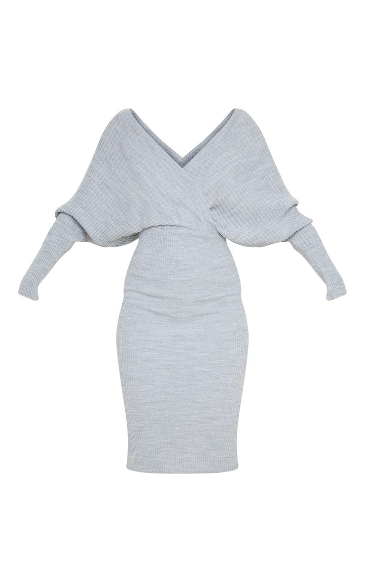 Grey Wrap Off The Shoulder Midi Dress 5