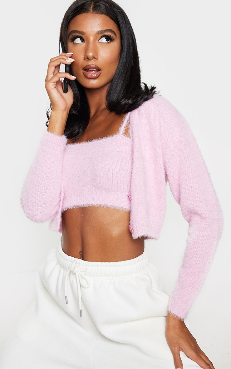 Pink Eyelash Knit Cropped Cami 1