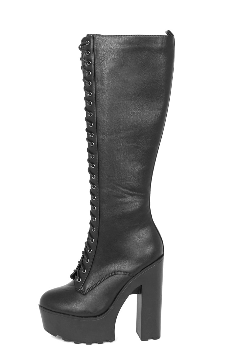 Glenys Black Lace Up Cleated Platform Boot  1