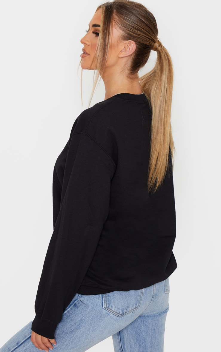Black Cosy Vibes Embroidered Sweater 3