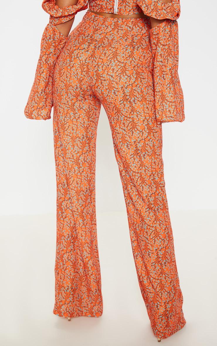Orange Floral Print Satin Button Detail Wide Leg Pants 4