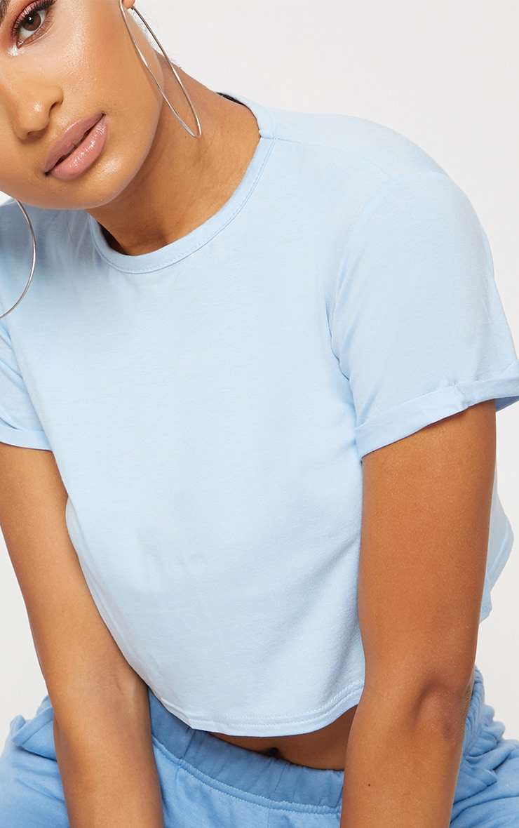 Basic Baby Blue Roll Sleeve Crop T Shirt  5