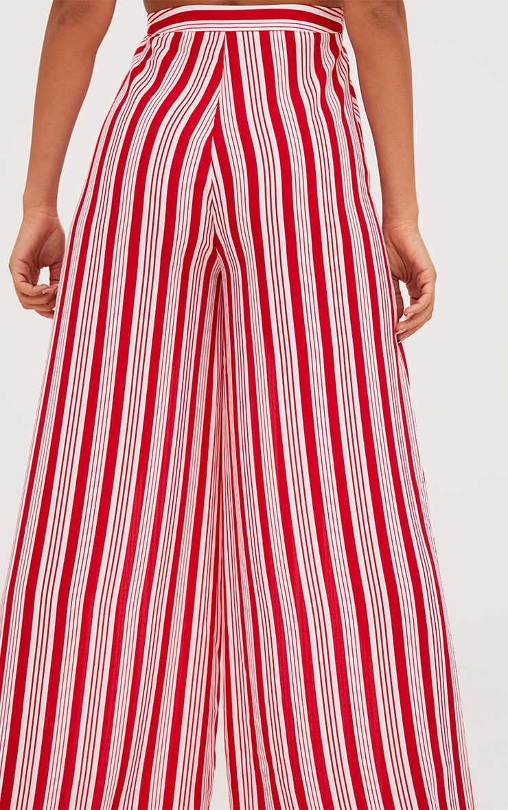 Red Contrast Stripe Mix Wide Leg Trousers 5