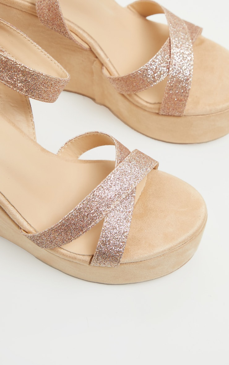 Rose Gold Glitter Strappy Wedges 3
