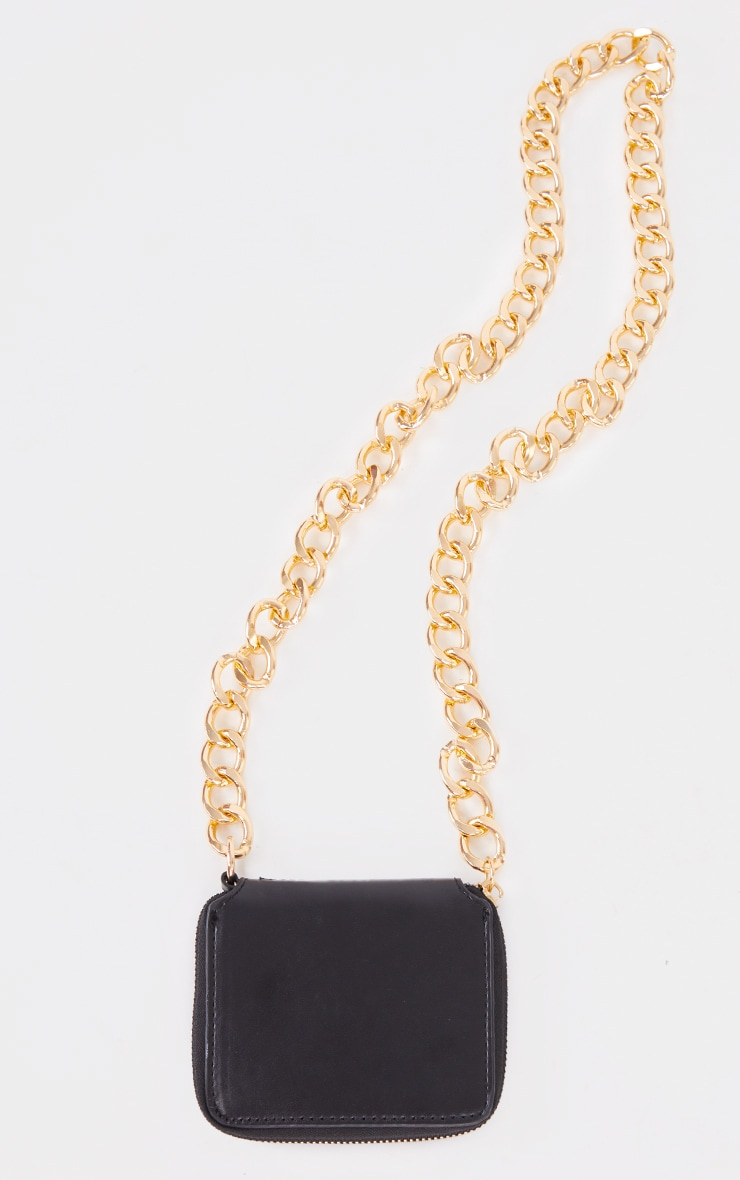 Black PU Gold Chunky Chain Mini Cross Body Bag 2