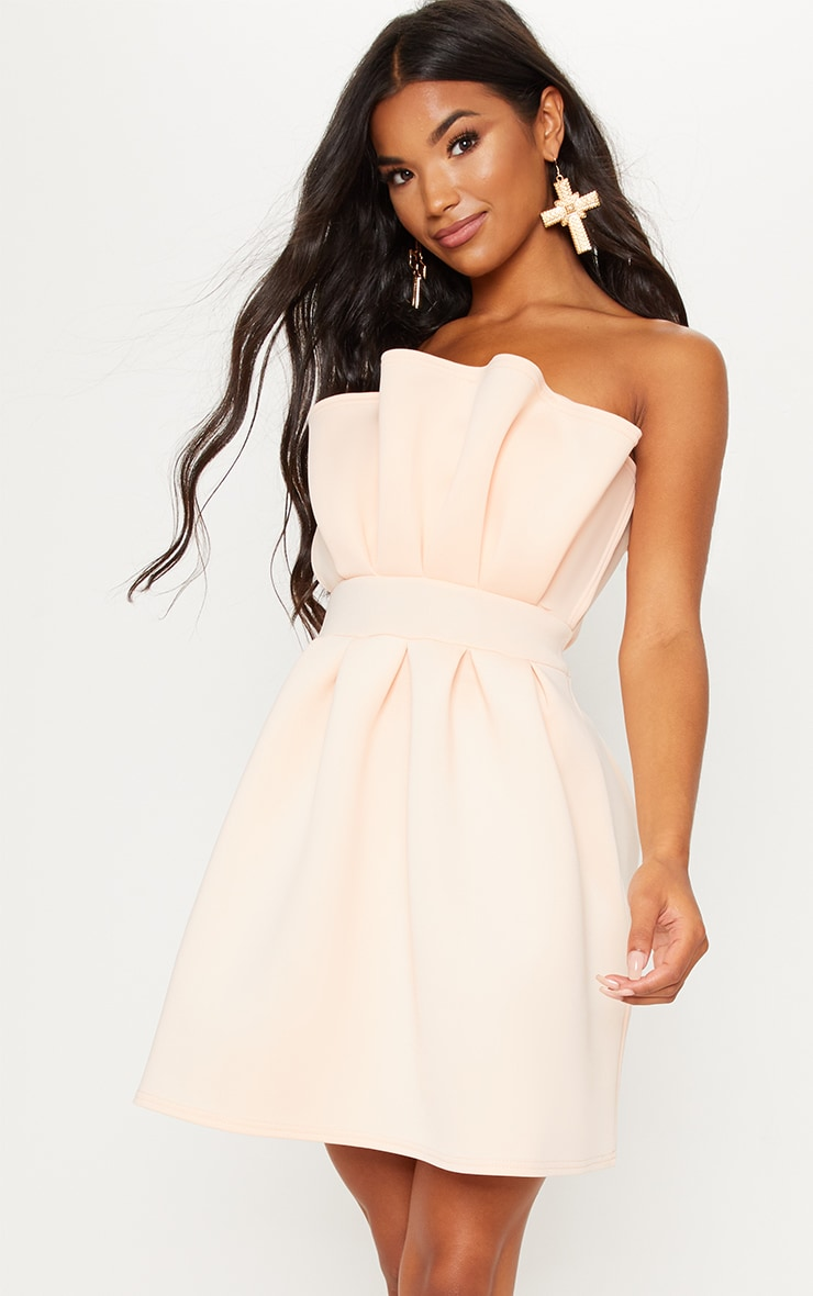 Nude Bonded Scuba Ruffle Detail Skater Dress