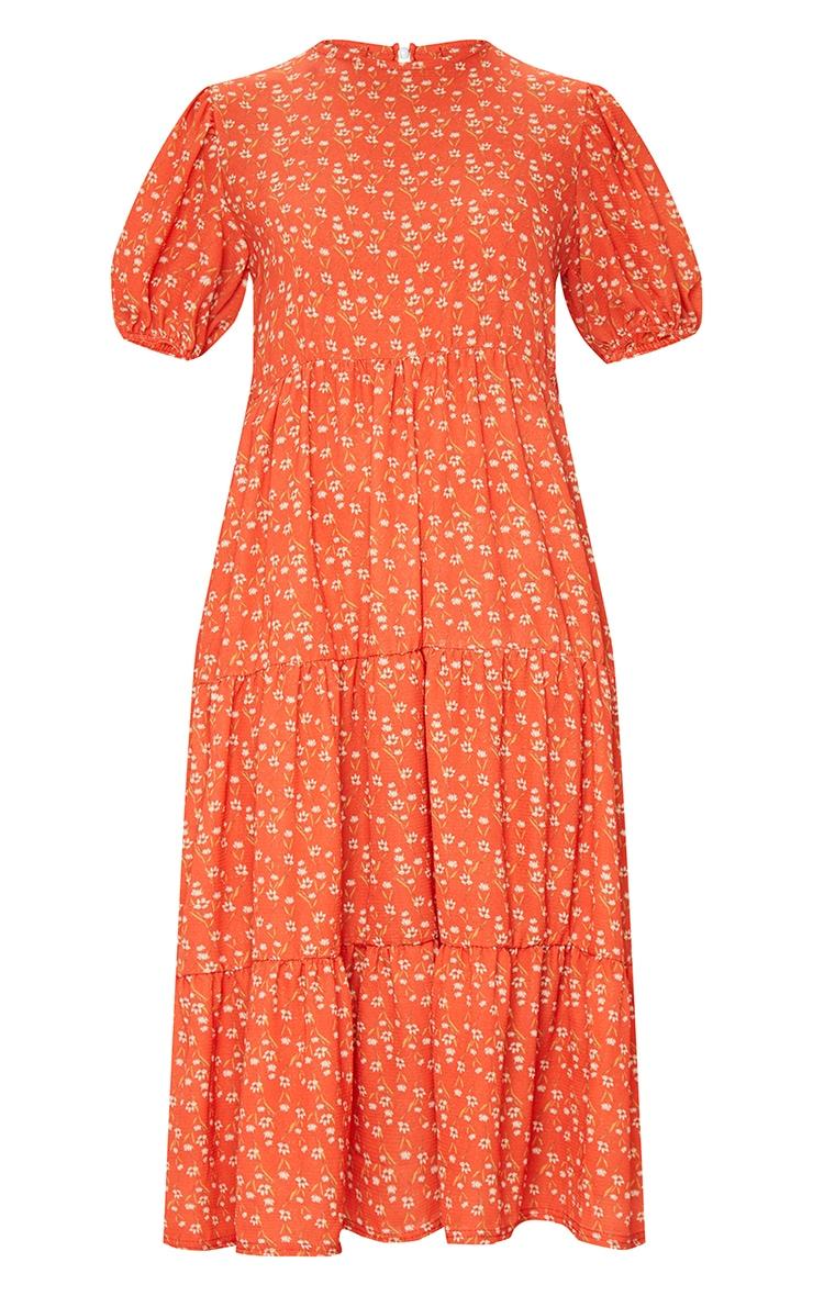 Red Ditsy Floral Print Puff Sleeve Tiered Hem Midi Smock Dress 5
