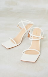 White Pu Flare Low Heel Extreme Square Toe Sandals 3